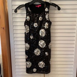 Dress with silver polka dots